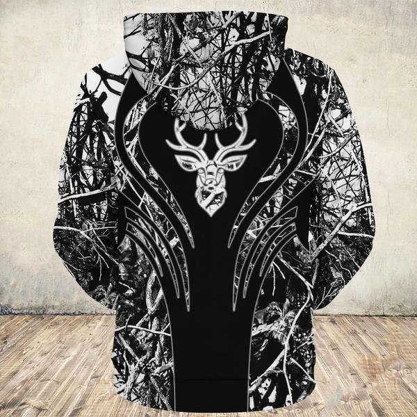 Heart deers all over print hoodie 2