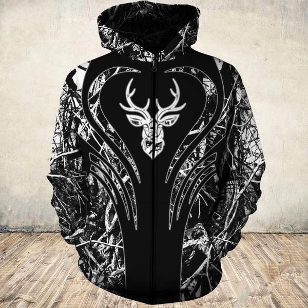 Heart deers all over print zip hoodie