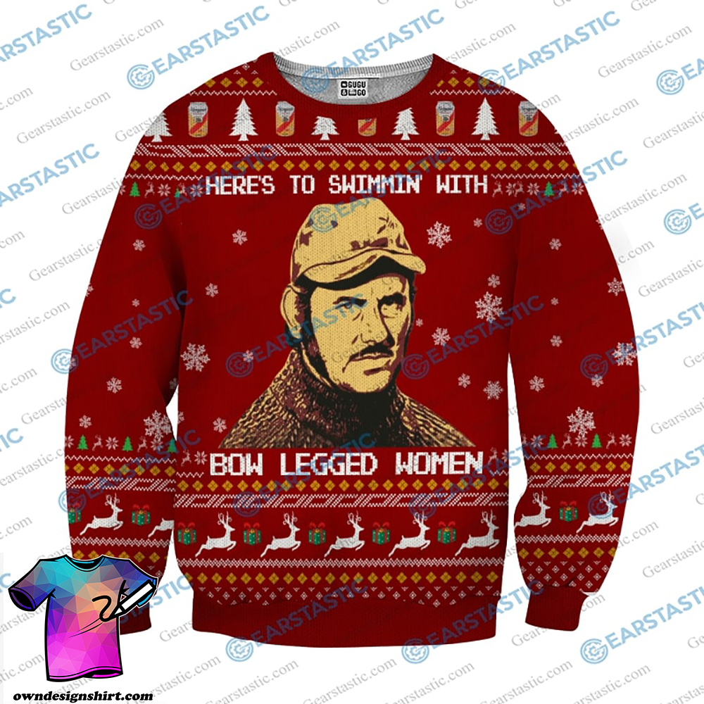 Here to swimmin' with bow legged women quint from jaws ugly christmas sweater