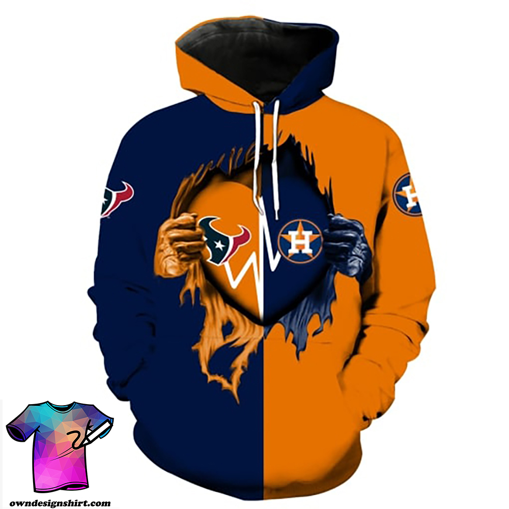 Houston astros and houston texans all over print hoodie