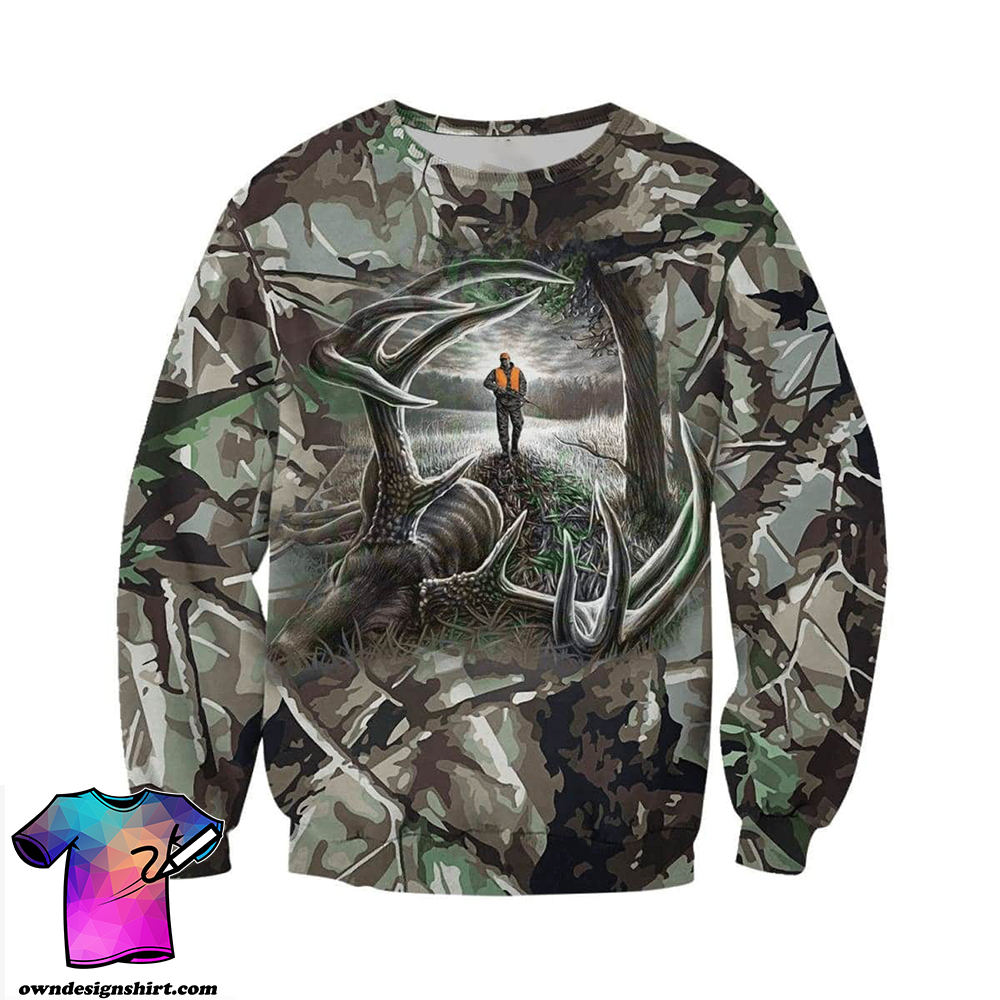Hunting deer camo forest all over print shirt