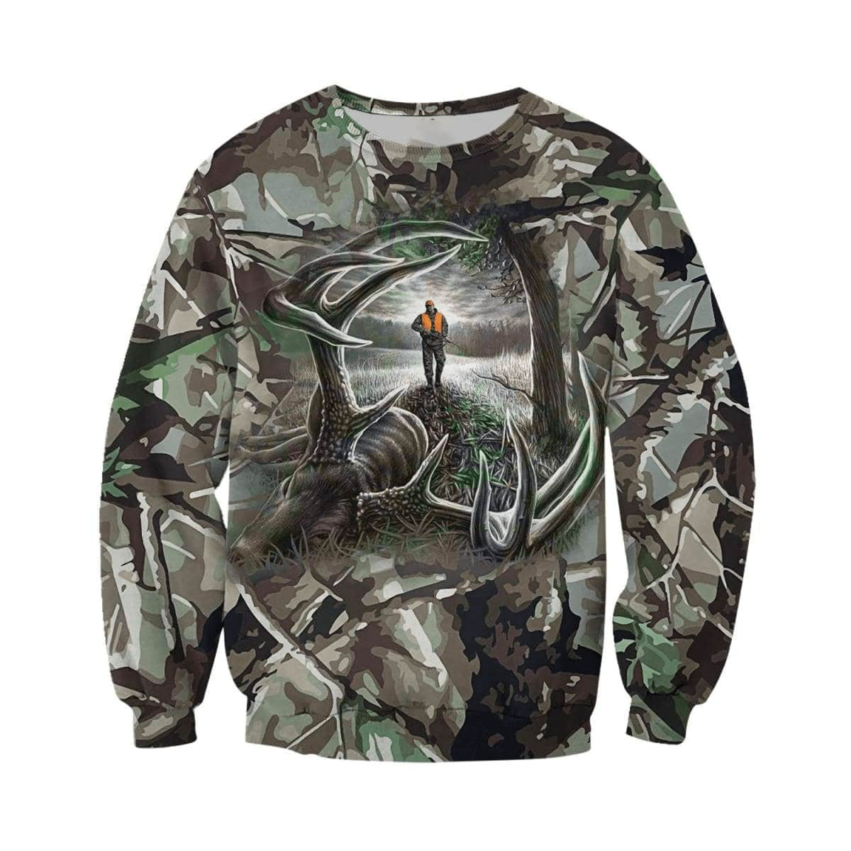 Hunting deer camo forest all over print sweatshirt 1