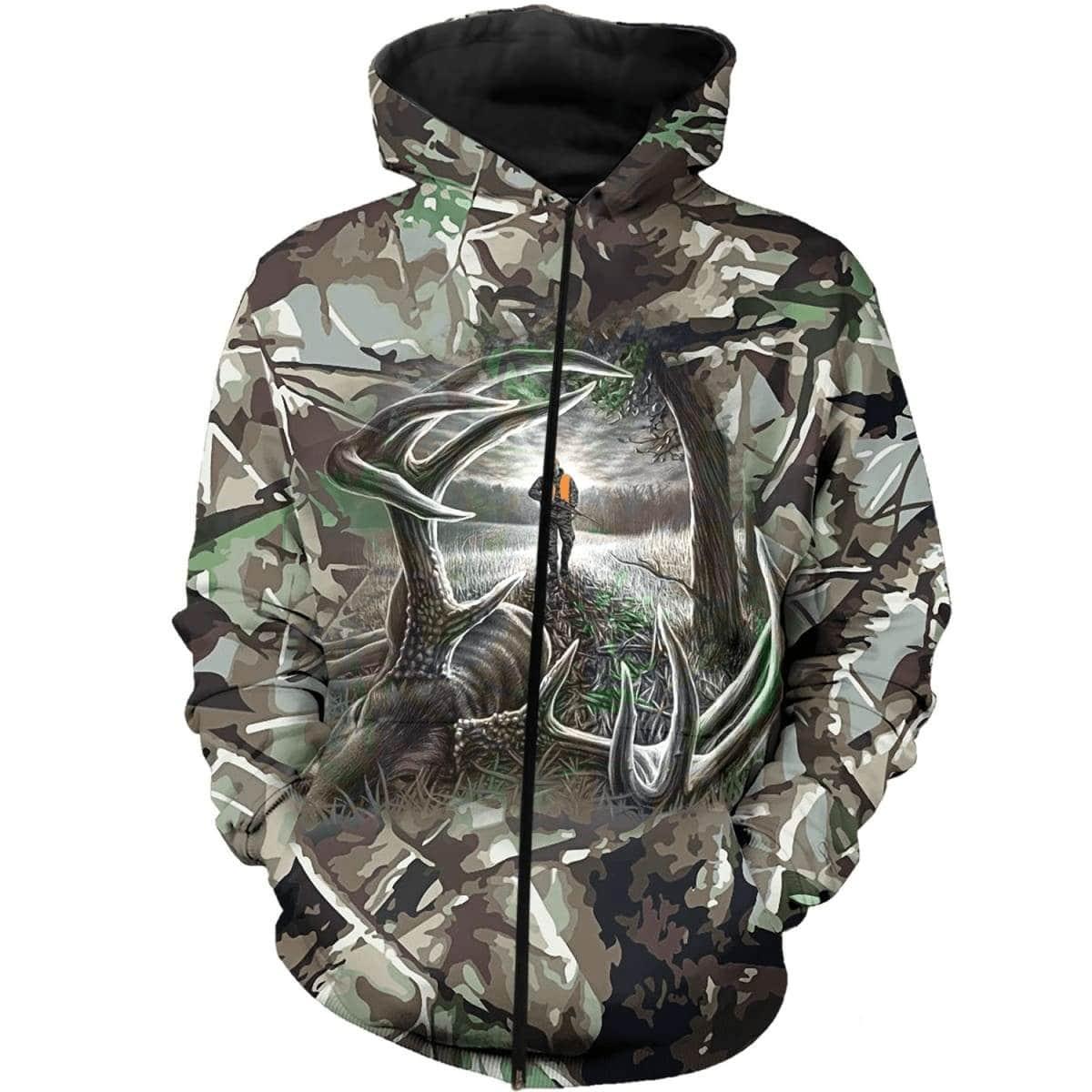 Hunting deer camo forest all over print zip hoodie 1