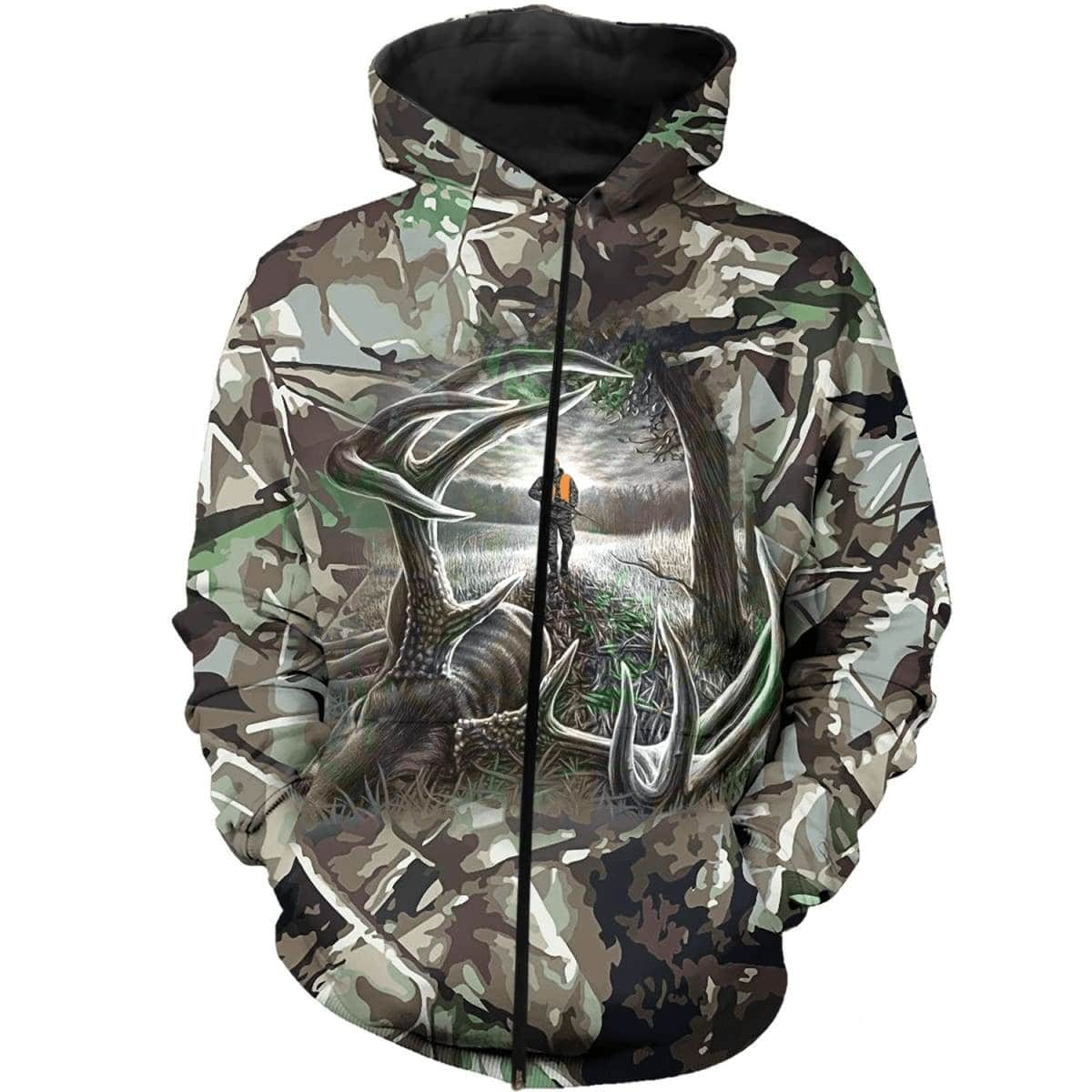 Hunting deer camo forest all over print zip hoodie