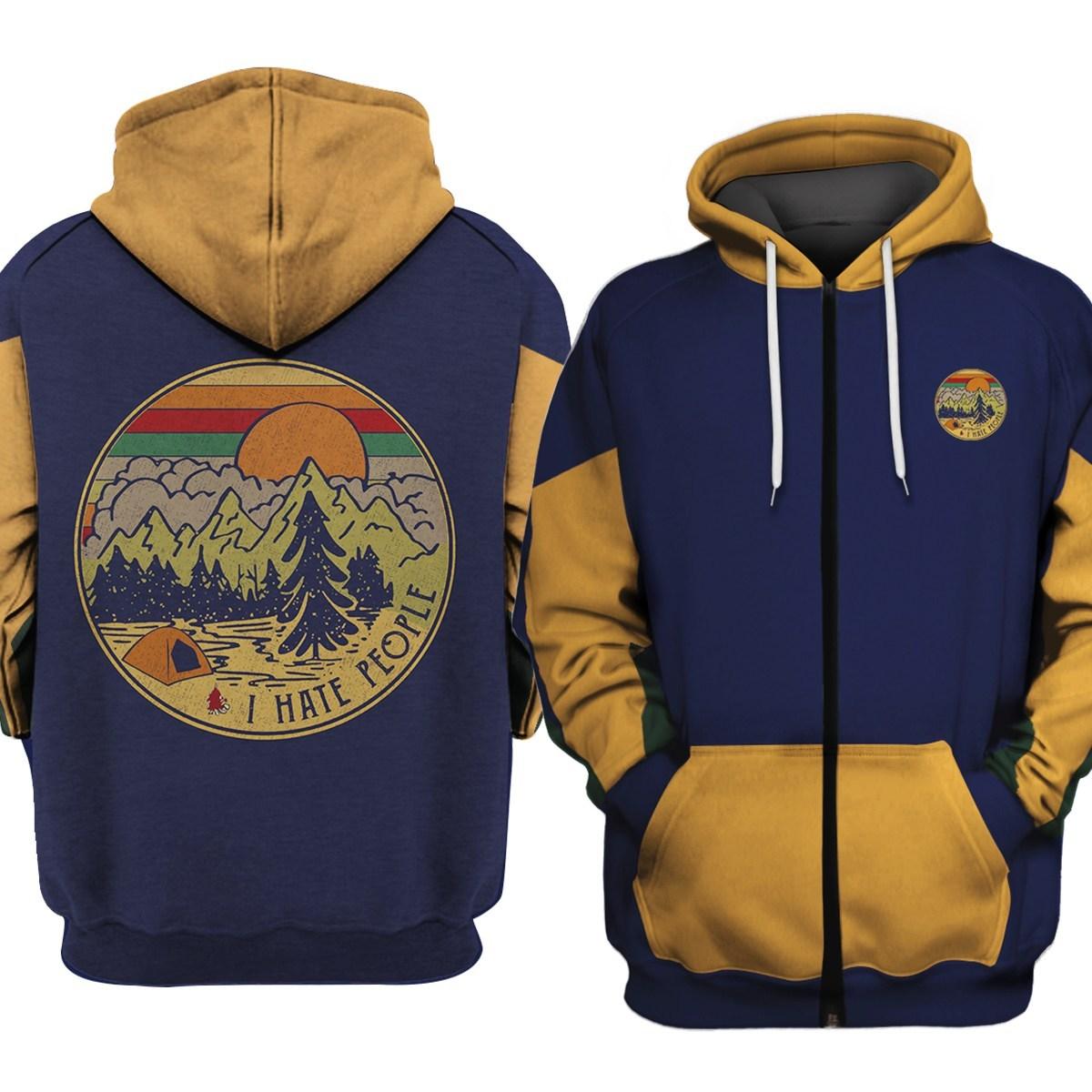 I hate people camping all over print zip hoodie
