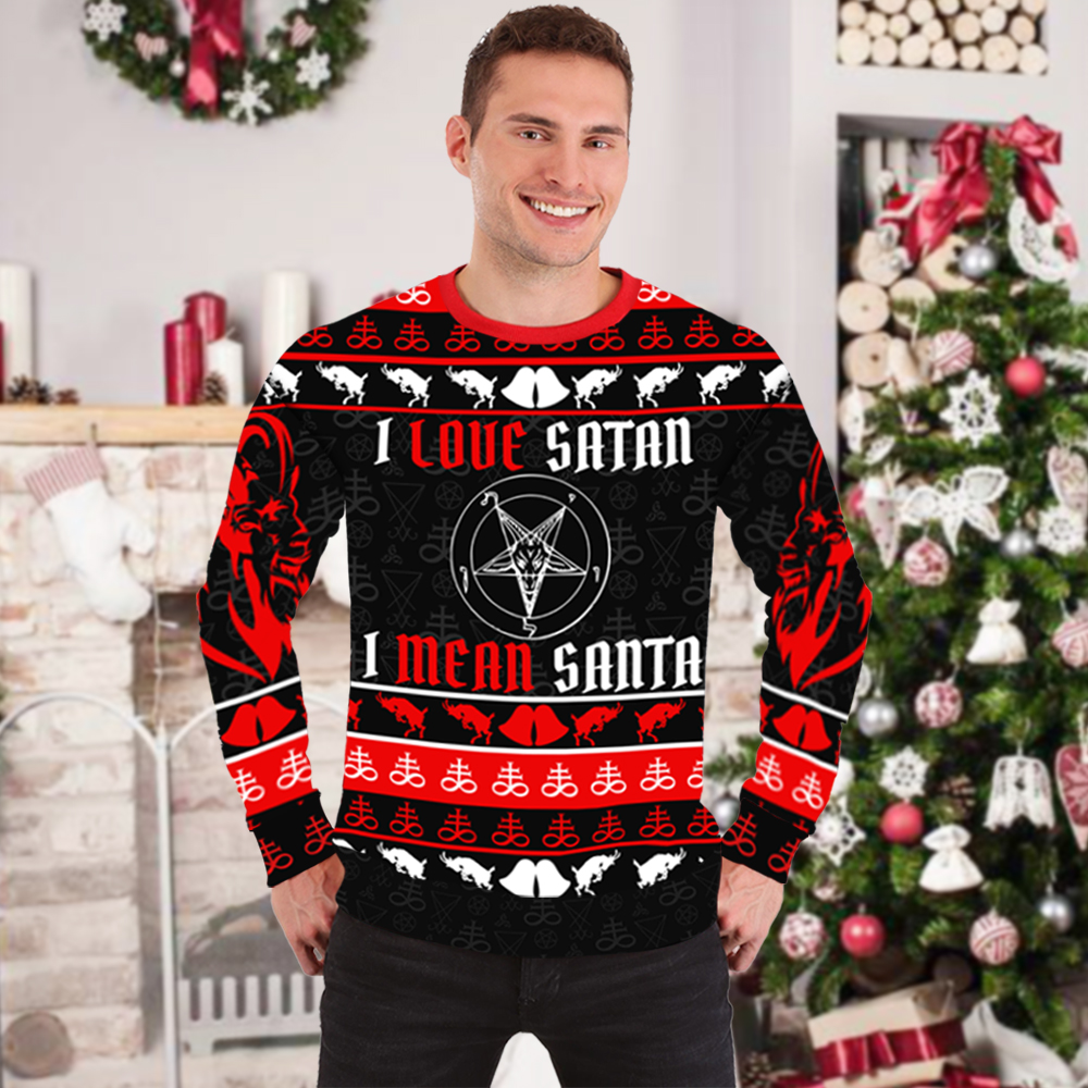 I love satan I mean santa full printing ugly christmas sweater 1