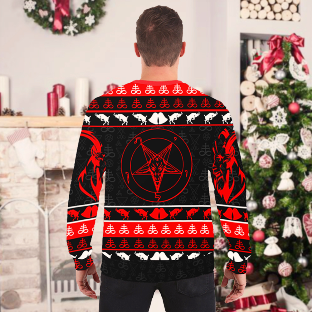 I love satan I mean santa full printing ugly christmas sweater 3