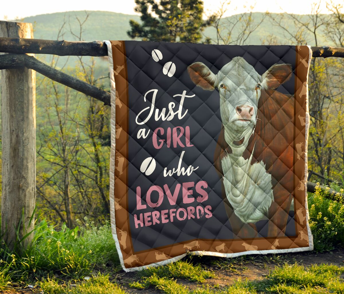 Just girl who loves herefords cow heifer quilt 2