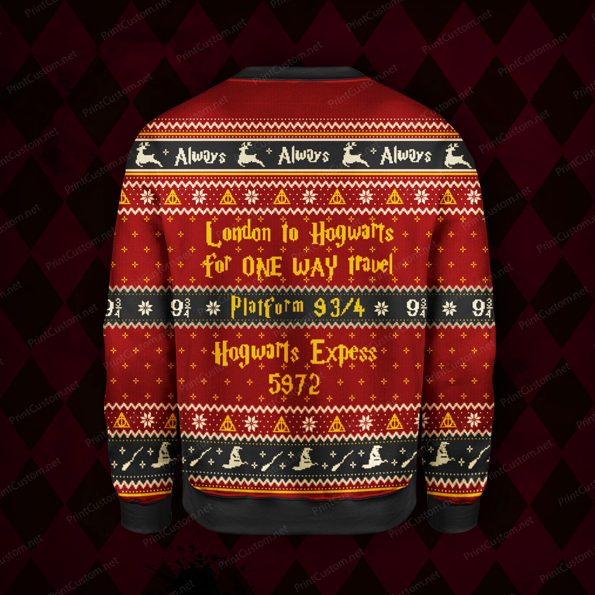 King's cross station harry potter full printing ugly christmas sweater 4