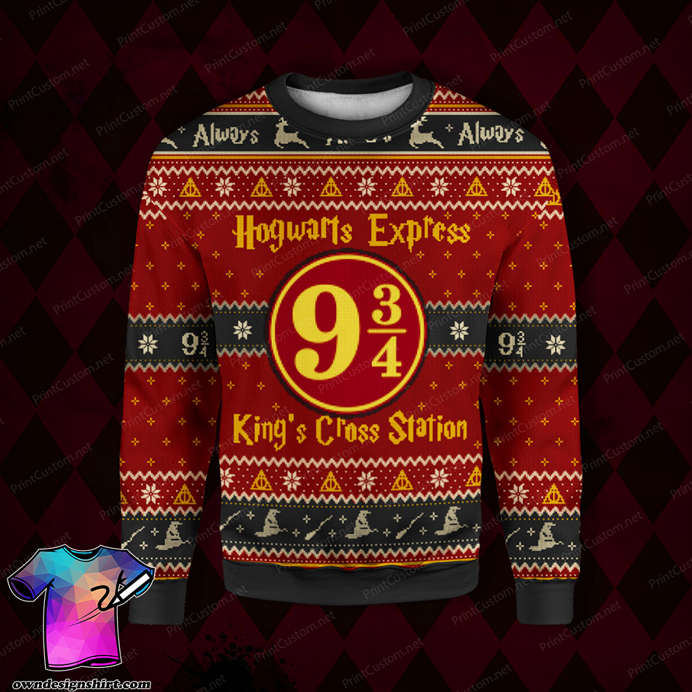 King's cross station harry potter full printing ugly christmas sweater