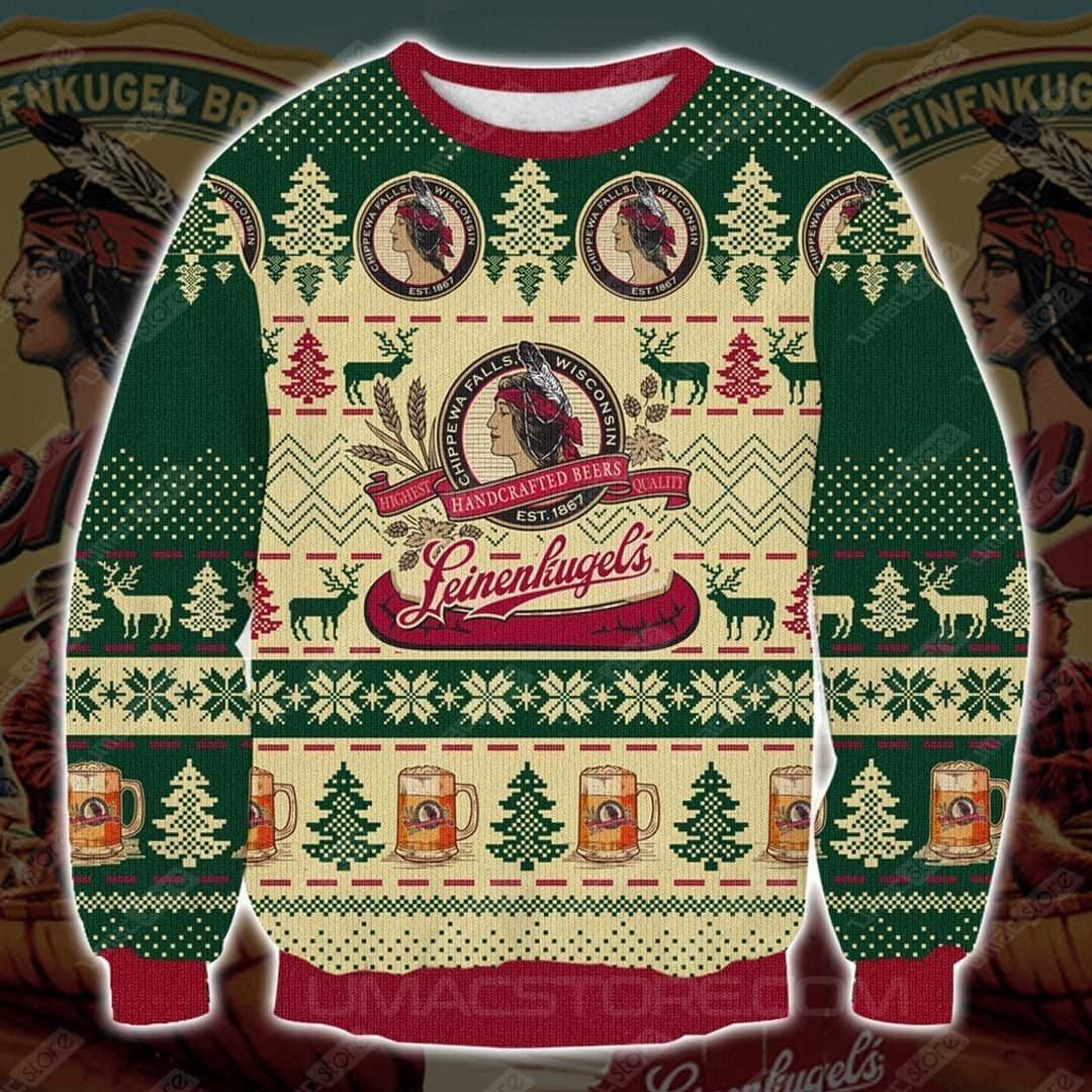 Leinenkugel's beer full printing ugly christmas sweater 4