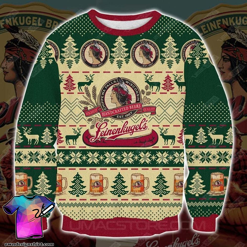 Leinenkugel's beer full printing ugly christmas sweater