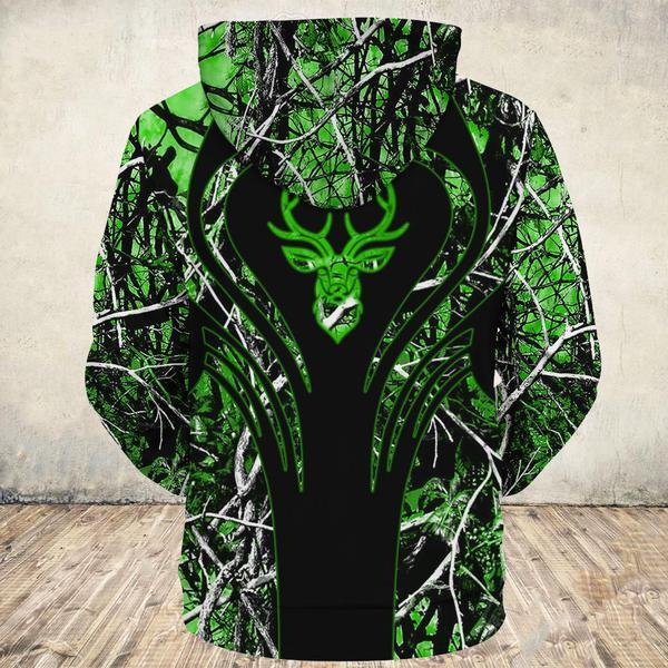 Love deer green all over print hoodie 1
