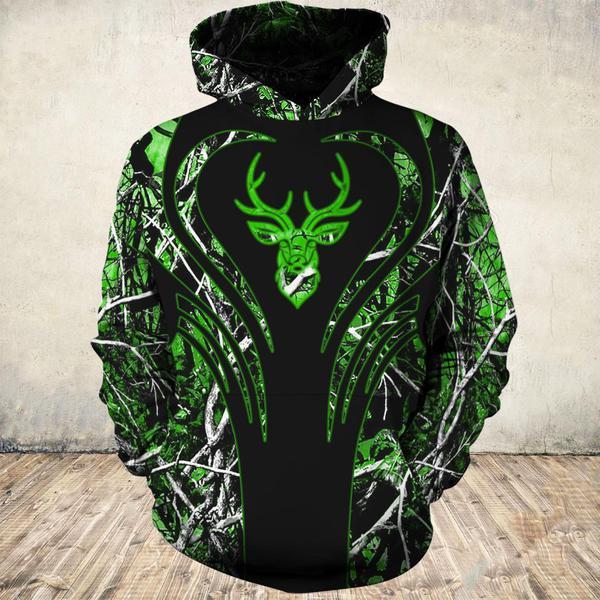 Love deer green all over print hoodie 2