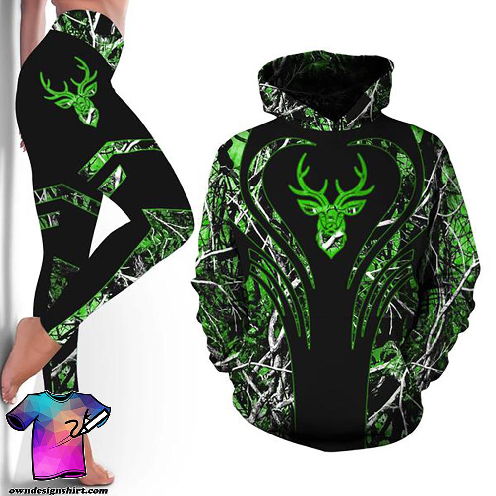 Love deer green all over print hoodie