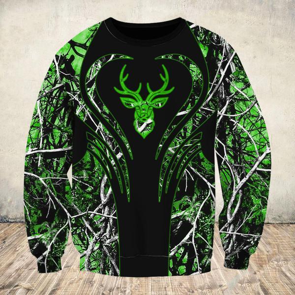 Love deer green all over print sweatshirt