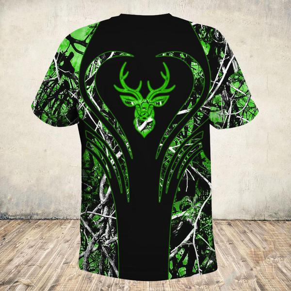 Love deer green all over print tshirt 1
