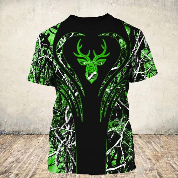 Love deer green all over print tshirt