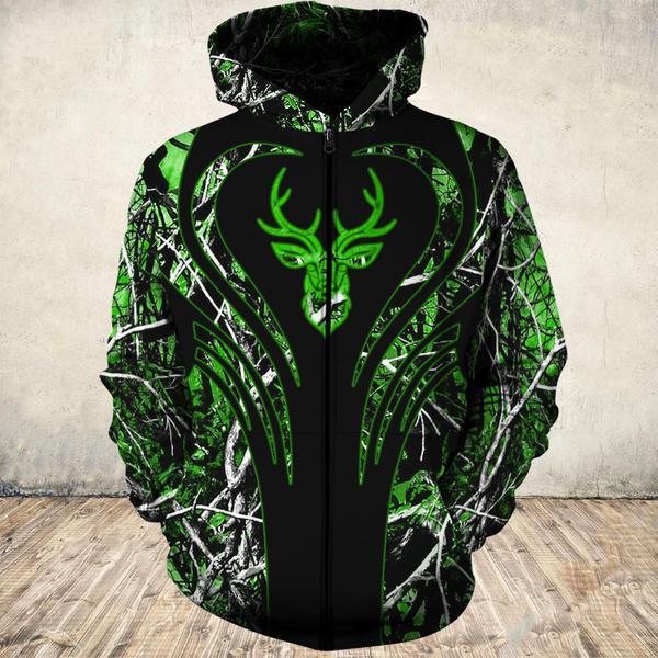 Love deer green all over print zip hoodie