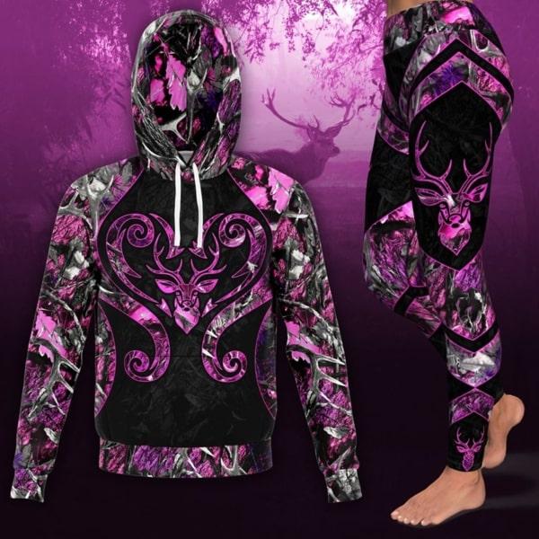 Love deer pink all over print hoodie 3