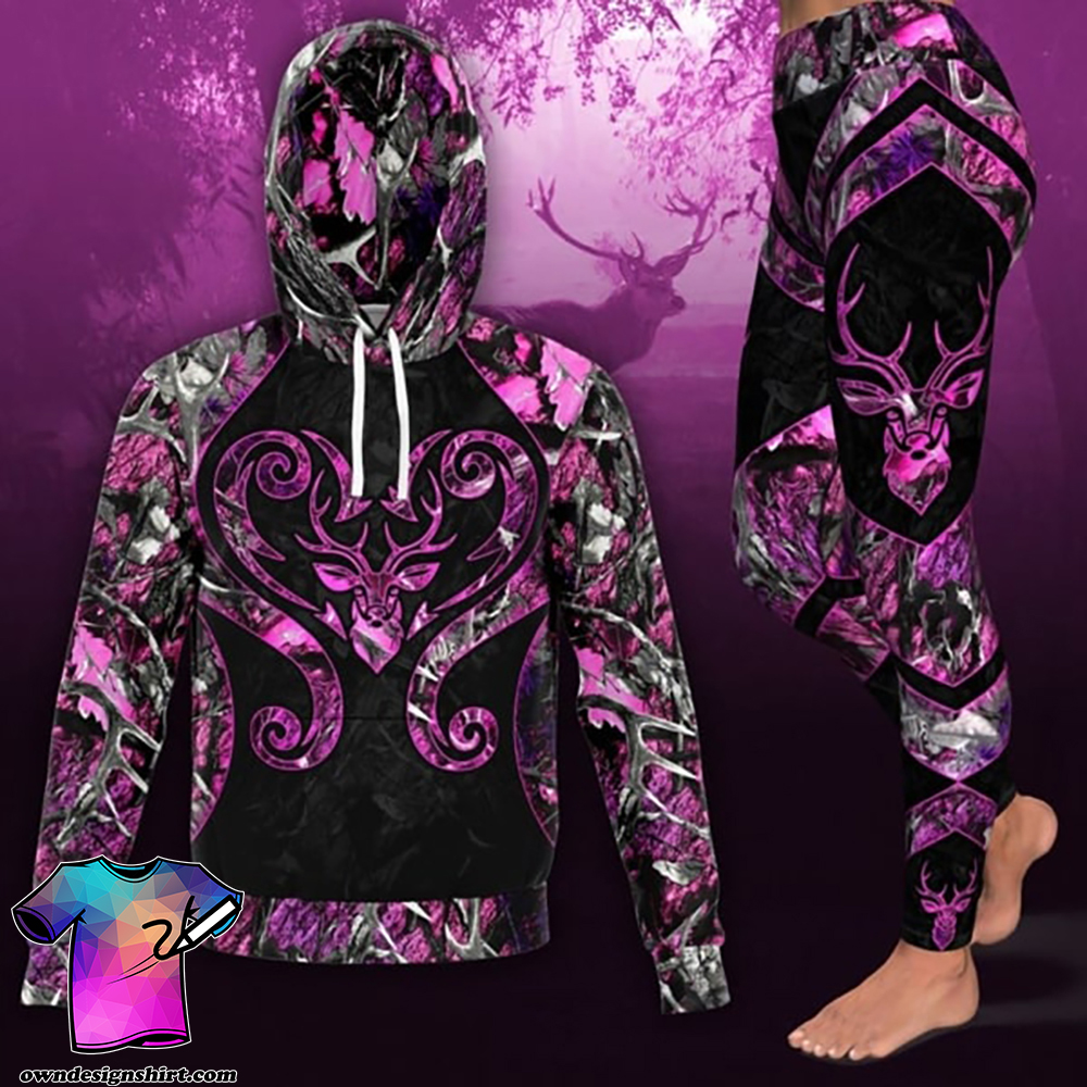 Love deer pink all over print hoodie