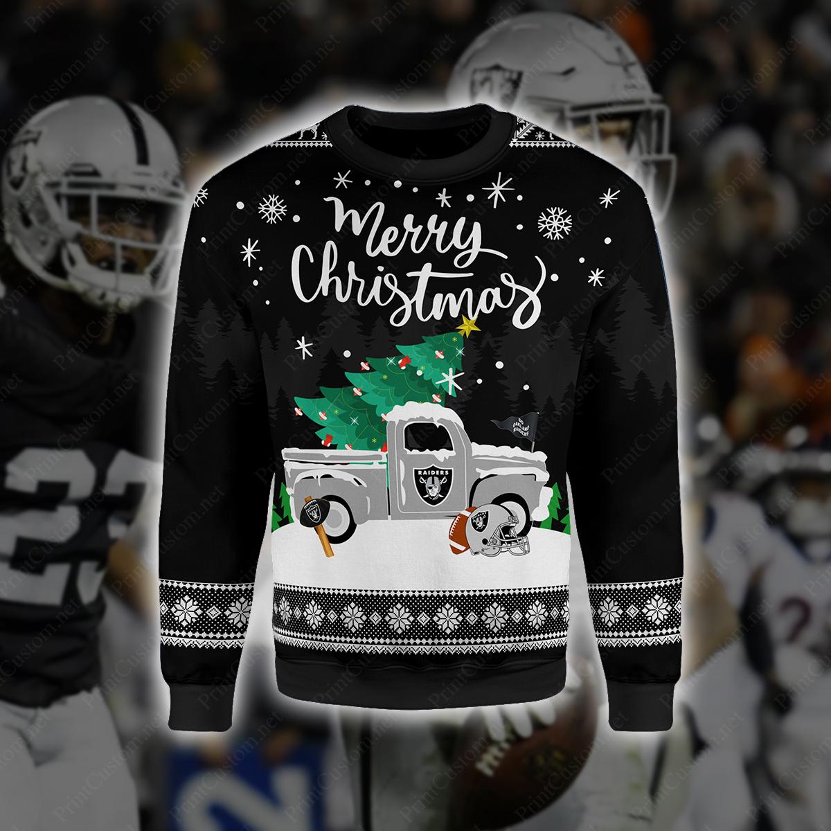 Merry christmas oakland raiders full printing shirt 1