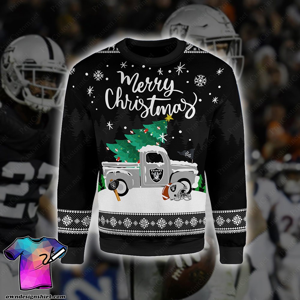 Merry christmas oakland raiders full printing shirt