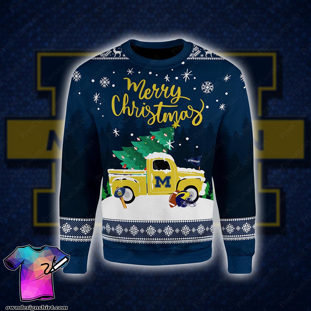 Michigan wolverines merry christmas full printing shirt