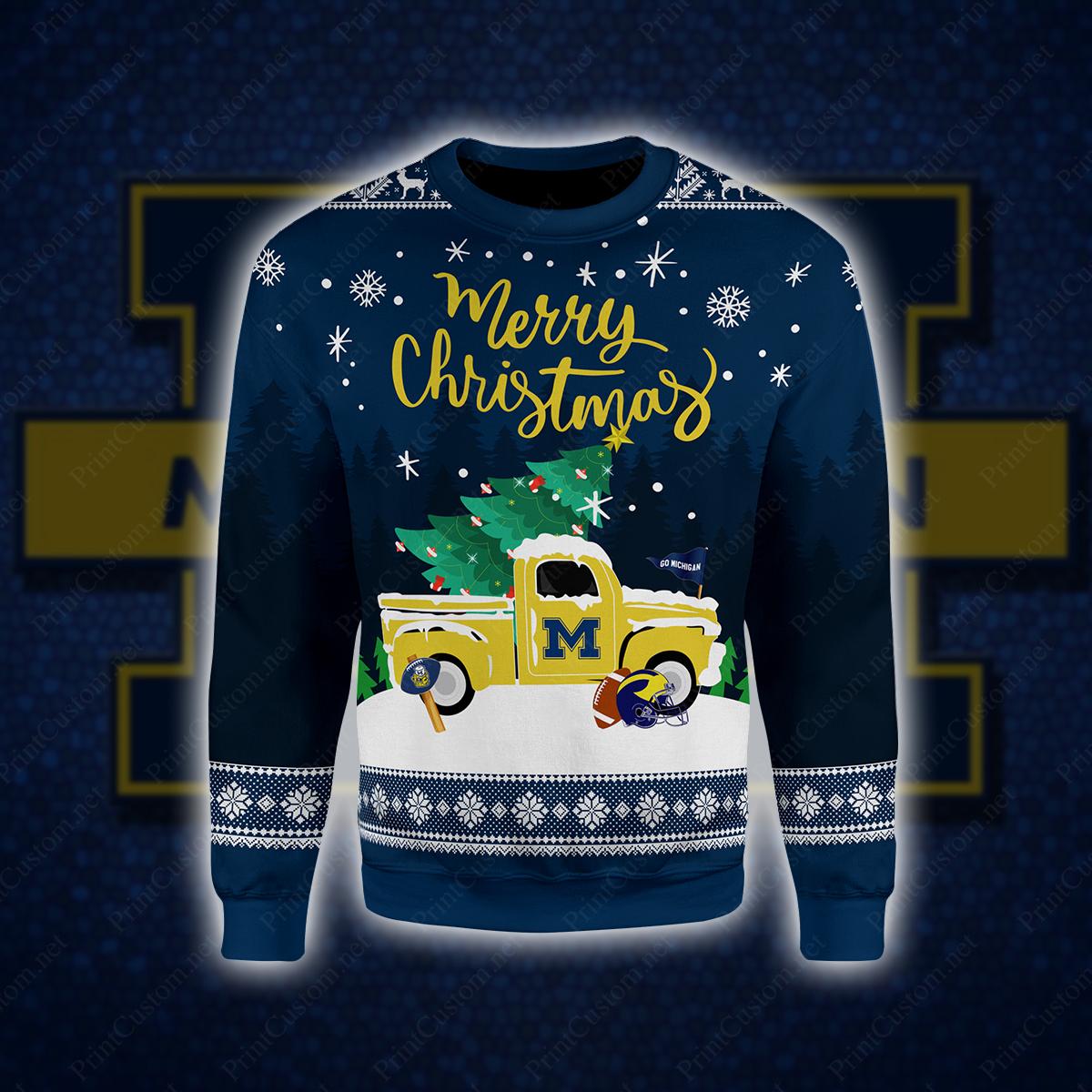 Michigan wolverines merry christmas full printing sweatshirt