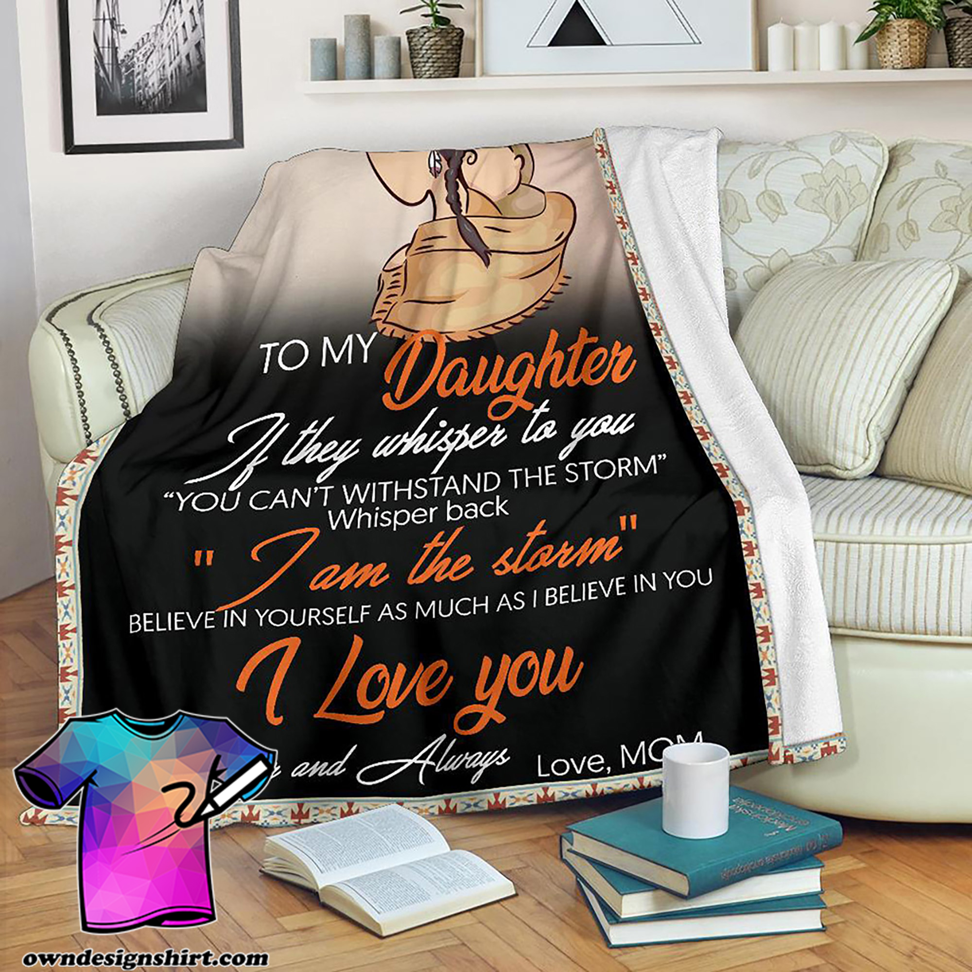 Native american to my daughter i love you blanket