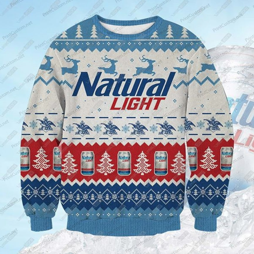 Natural light beer full printing ugly christmas sweater 4