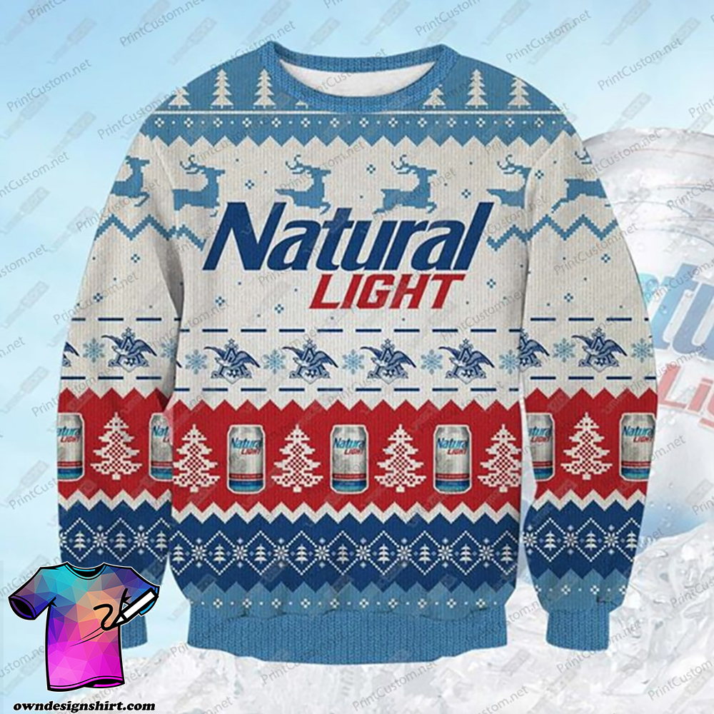 Natural light beer full printing ugly christmas sweater
