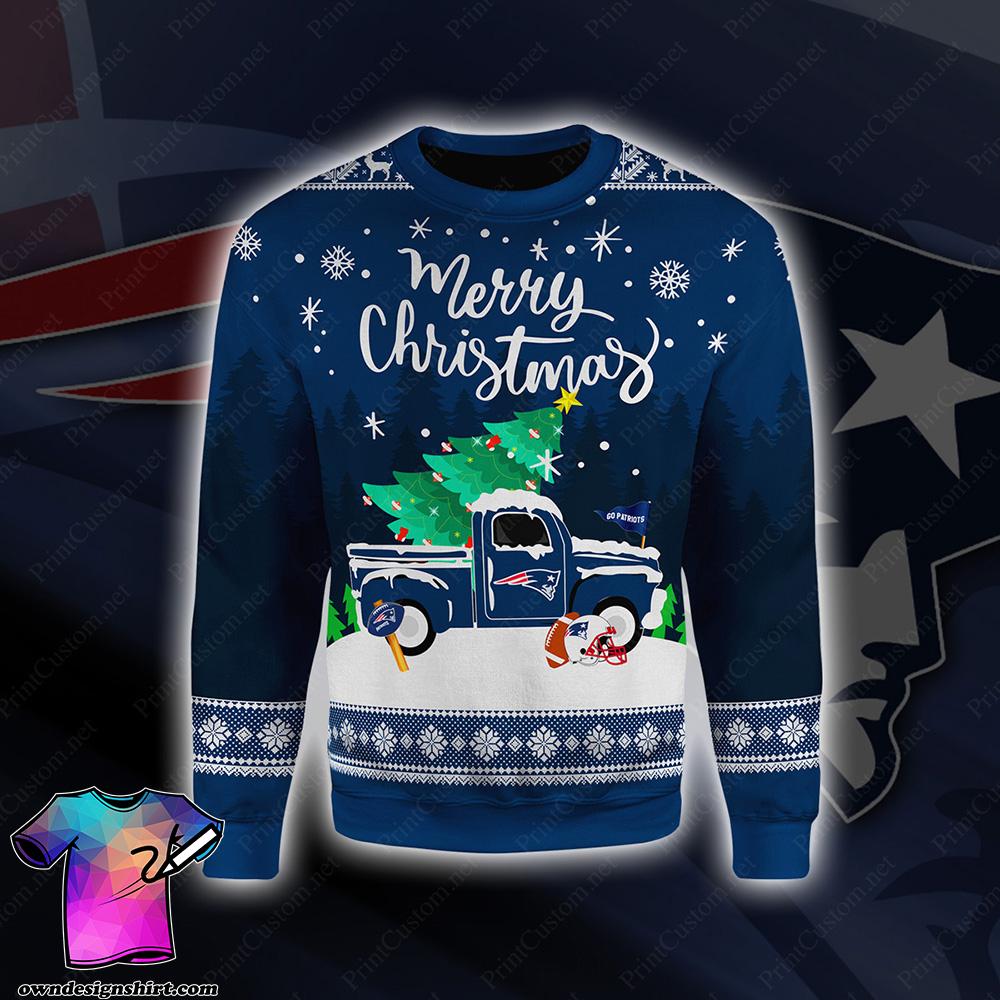 New england patriots merry christmas full printing shirt