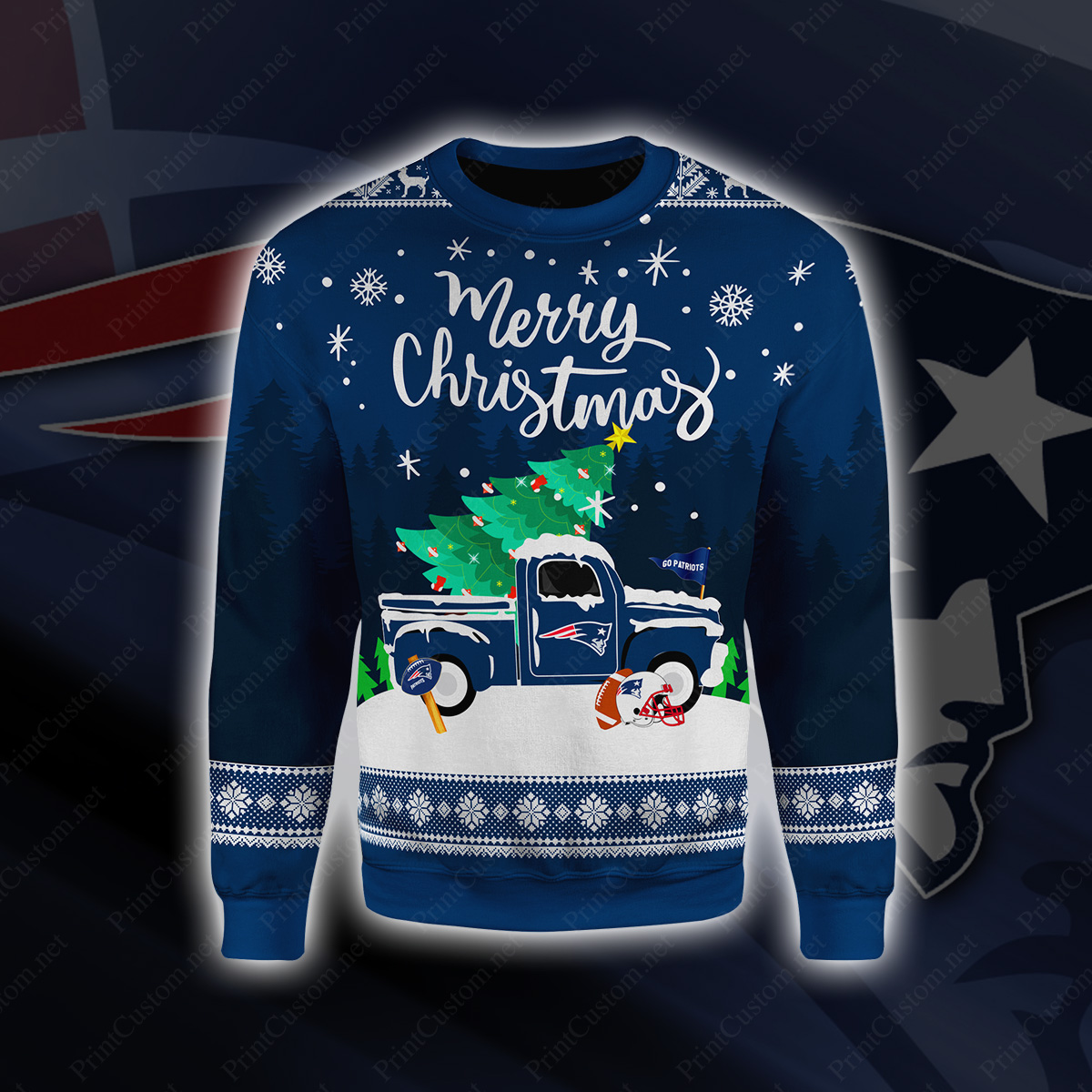 New england patriots merry christmas full printing sweater