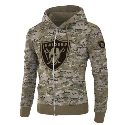 Oakland raiders camo style all over print zip hoodie
