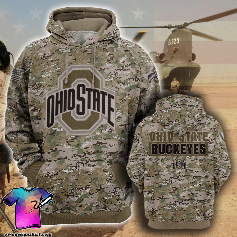 Ohio state buckeyes camo style all over print hoodie