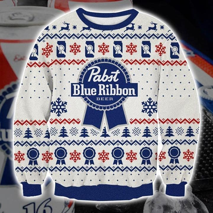 Pabst blue ribbon full printing ugly christmas sweater 1