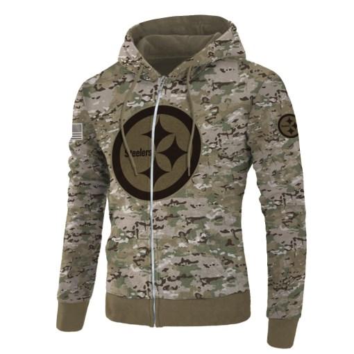 Pittsburgh steelers camo style all over print zip hoodie