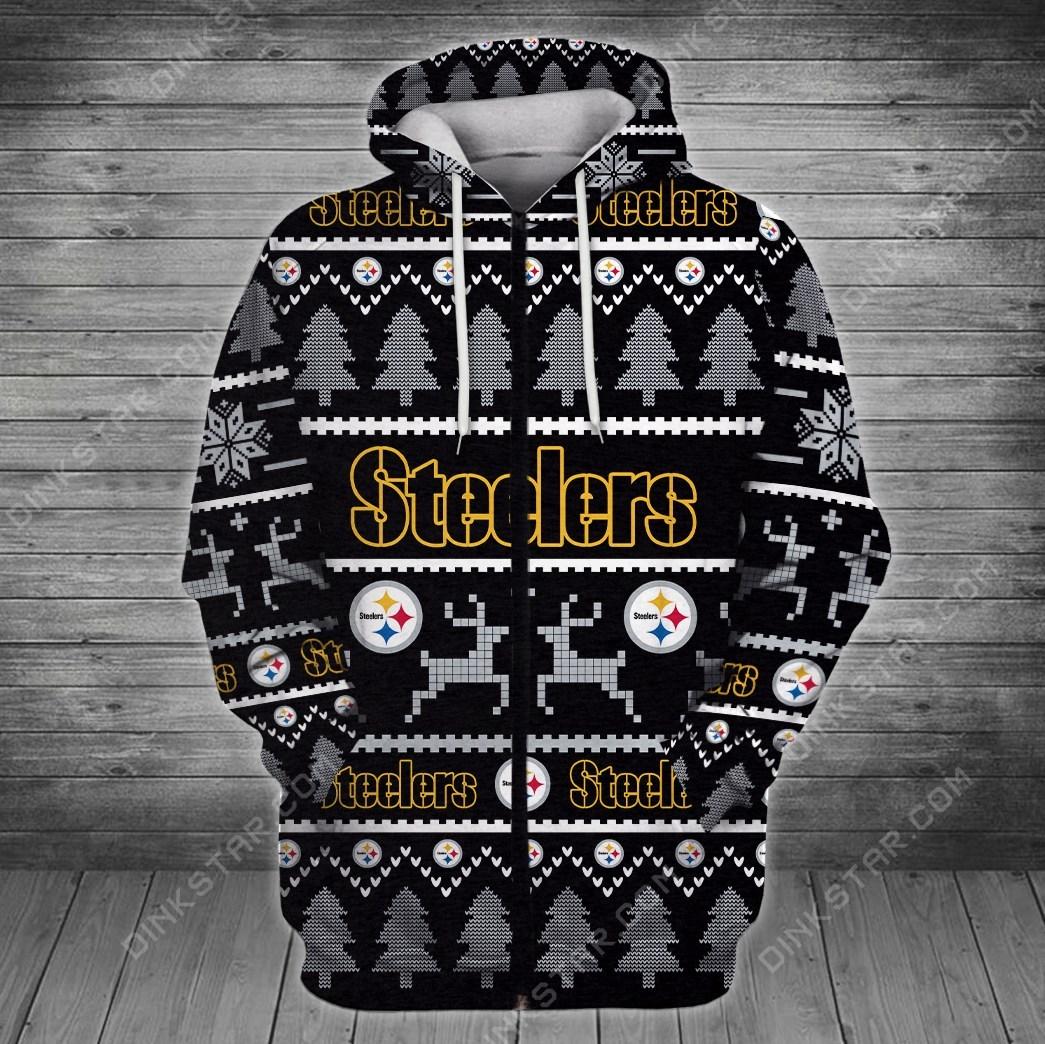 Pittsburgh steelers full printing zip hoodie