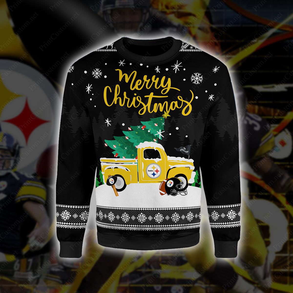 Pittsburgh steelers merry christmas full printing sweater 1