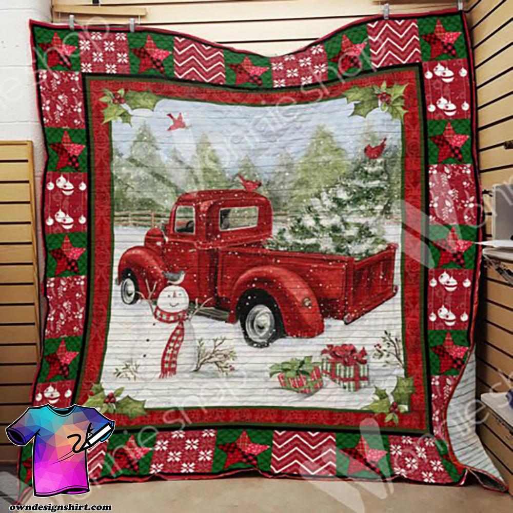 Red truck christmas blanket