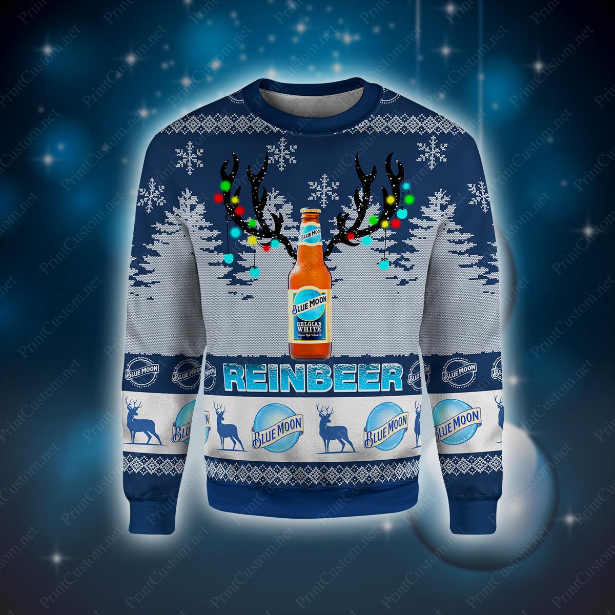 Reinbeer blue moon full printing ugly christmas sweater 2