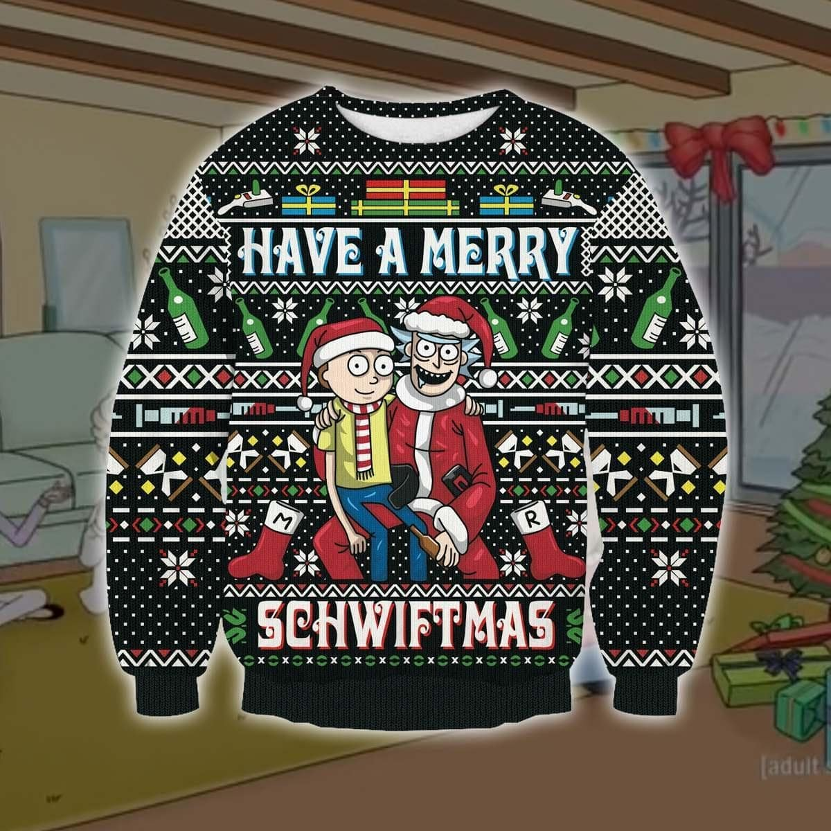 Rick and morty have a merry schwiftmas ugly christmas sweater 4