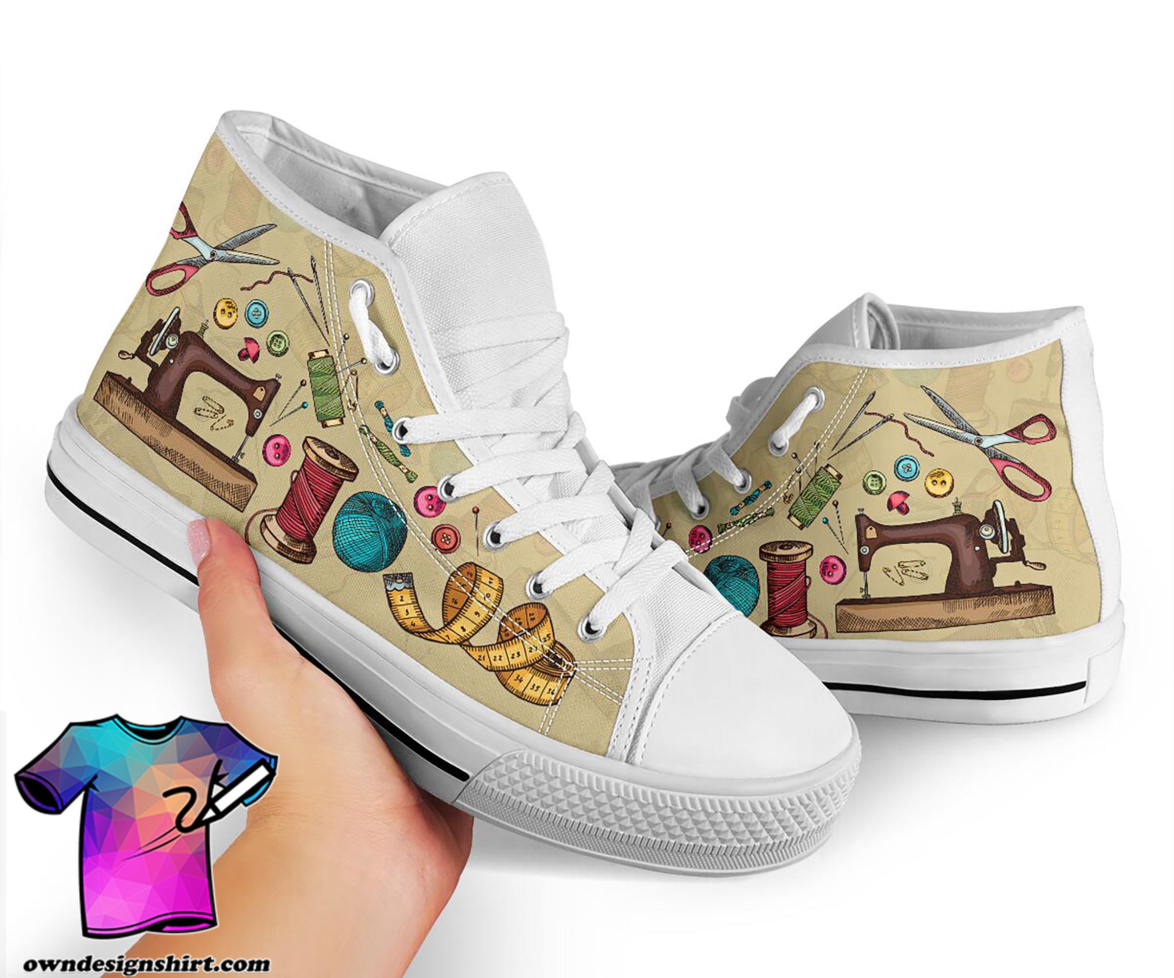 Sewing pattern high top sneakers