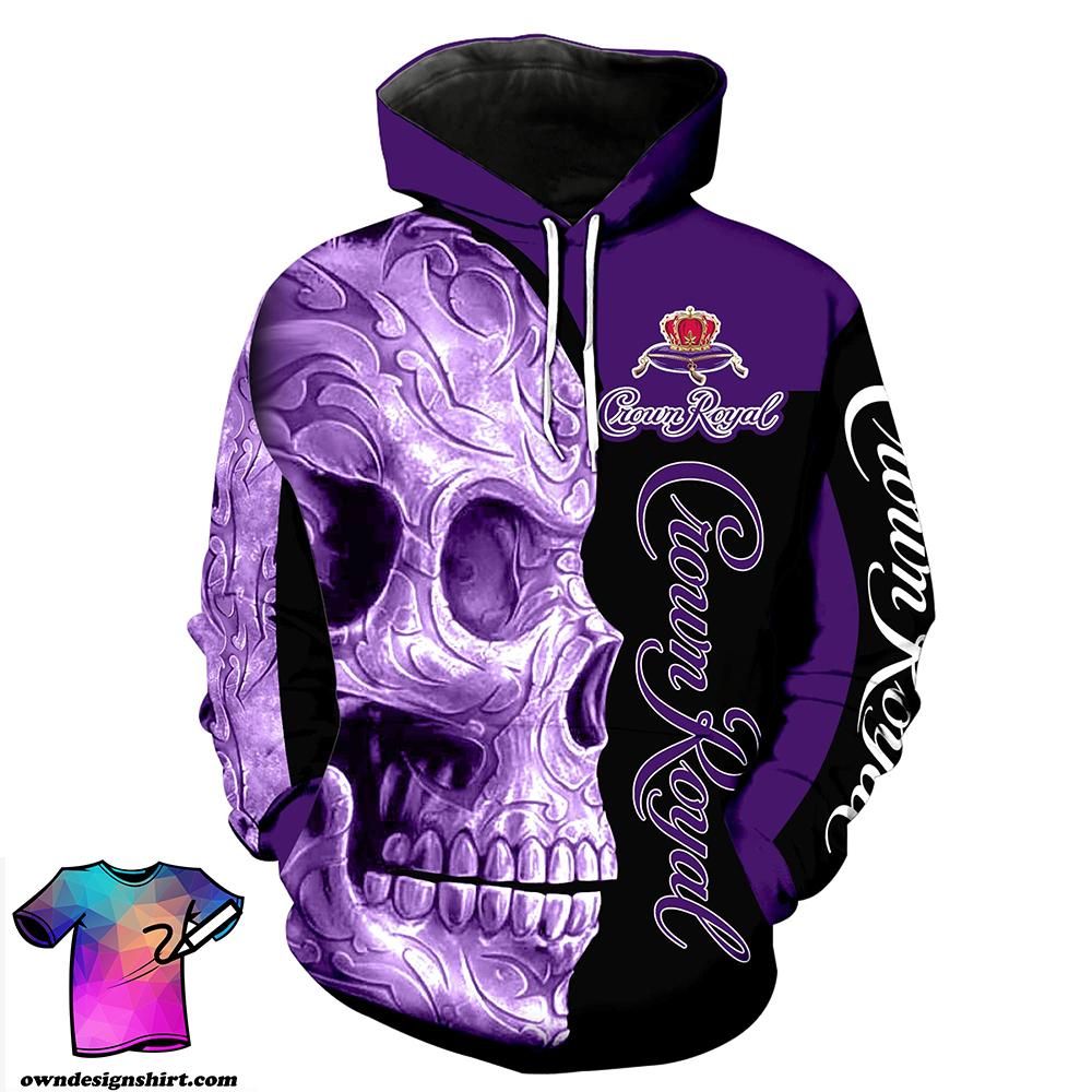 Skull Crown Royal all over print hoodie