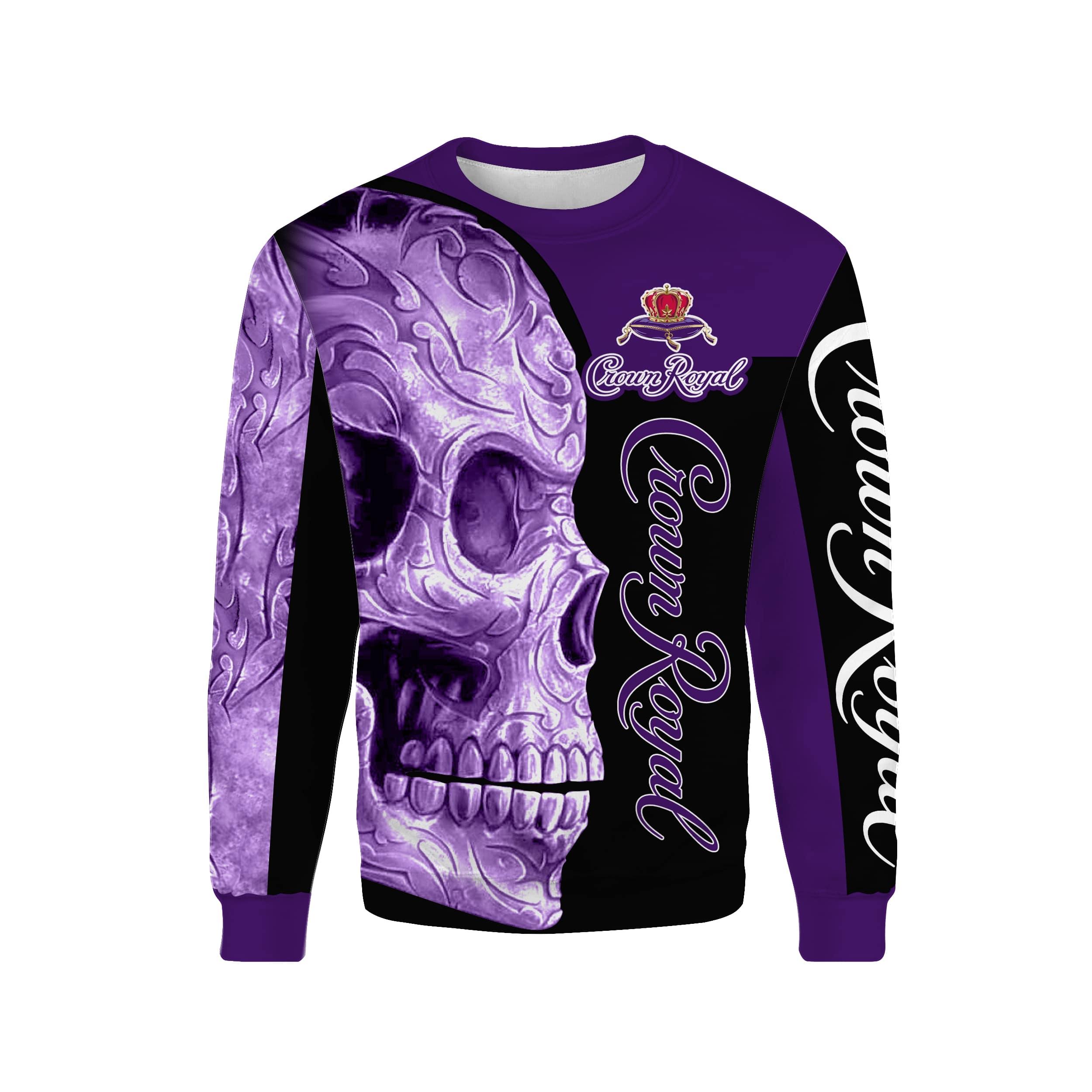 Skull Crown Royal all over print sweatshirt