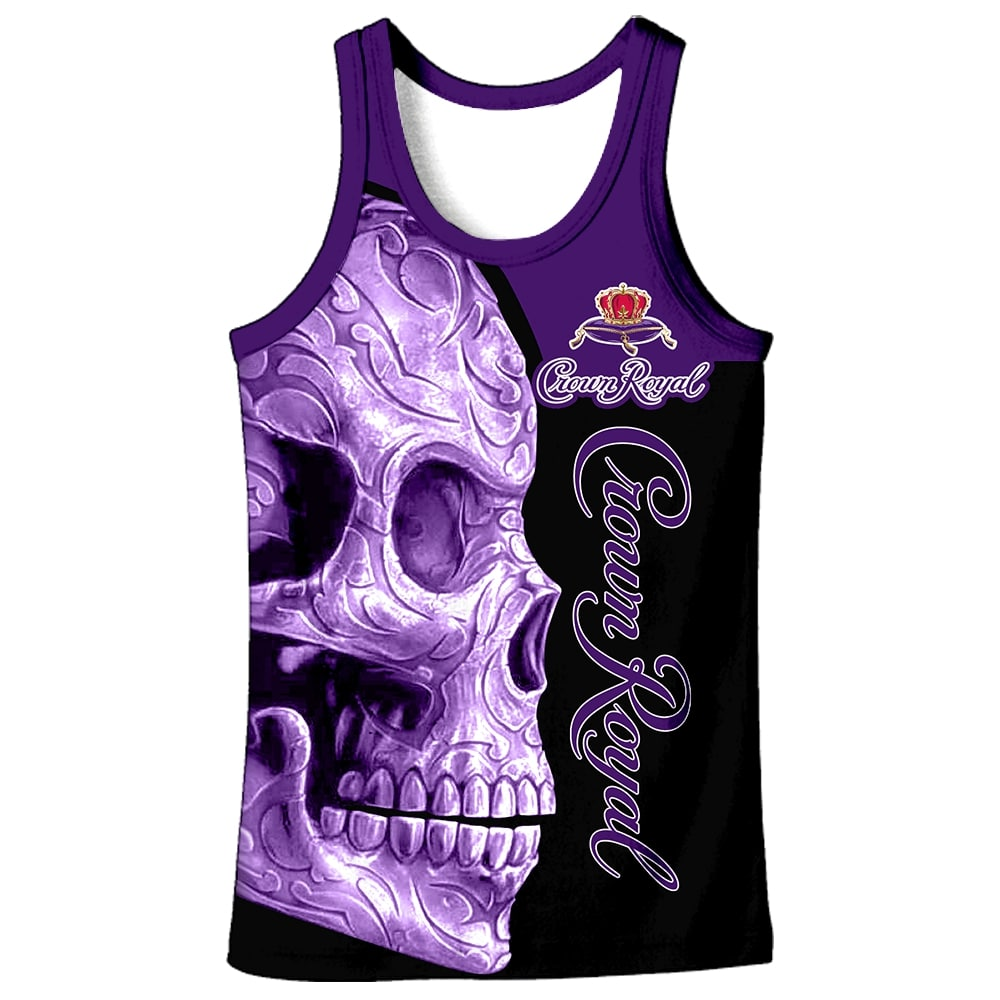 Skull Crown Royal all over print tank top 1