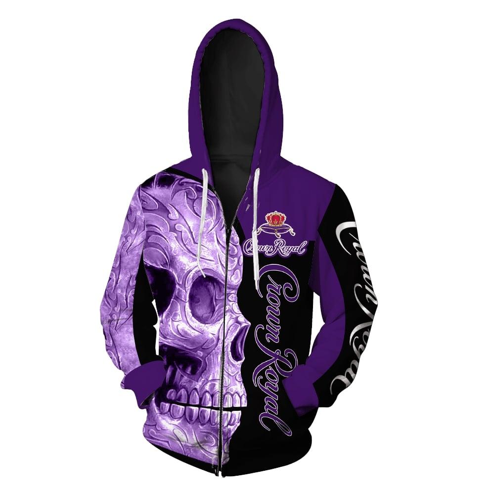 Skull Crown Royal all over print zip hoodie