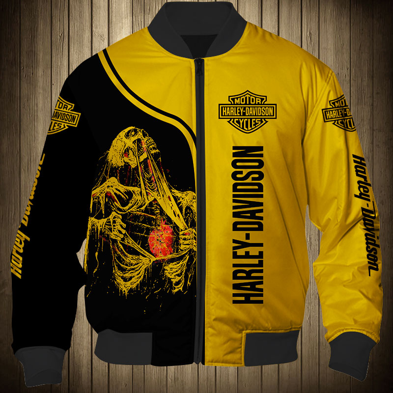 Skull art harley-davidson motorcycle all over printed bomber jacket