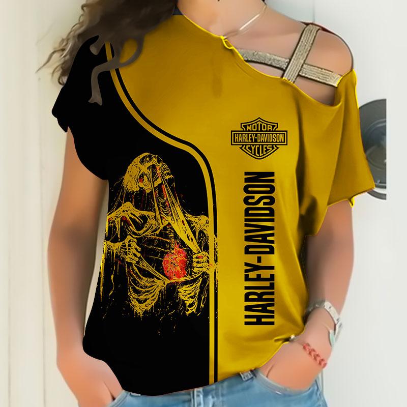 Skull art harley-davidson motorcycle all over printed cross shoulder shirt